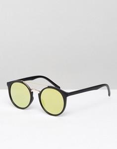 Круглые солнцезащитные очки с плоскими стеклами ASOS - Черный