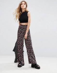 Расклешенные брюки с цветочным принтом Rock & Religion - Черный