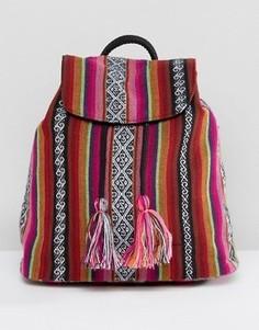 Маленький пляжный рюкзак в полоску ASOS - Розовый
