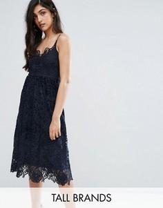 Кружевное платье миди с бретельками Y.A.S Tall Selvia - Темно-синий