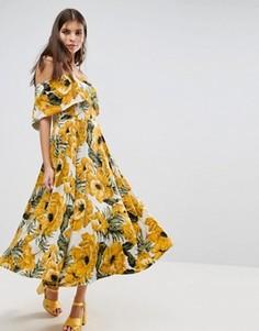 Платье миди с вырезом лодочкой и цветочным принтом ASOS - Мульти
