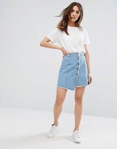 Джинсовая юбка на пуговицах с необработанным краем Noisy May - Синий