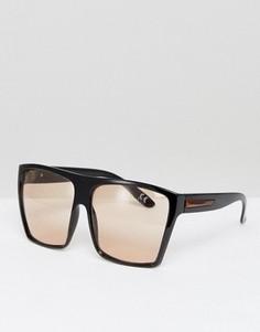 Большие квадратные солнцезащитные очки со светло-коричневыми стеклами ASOS - Черный