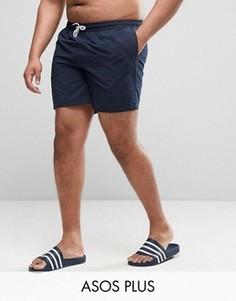 Темно-синие шорты для плавания средней длины ASOS PLUS - Темно-синий