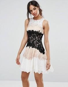 Кружевное платье мини Forever Unique - Бежевый