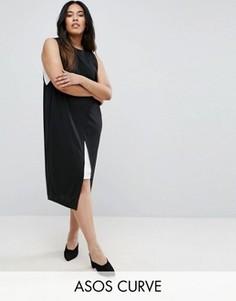 Платье-футляр колор блок с запахом ASOS CURVE - Мульти