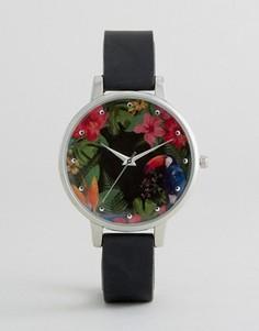 Часы с тропическим принтом на циферблате New Look - Серебряный
