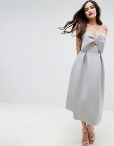 Приталенное платье миди с бантом ASOS PREMIUM - Серый