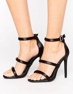 Атласные босоножки на каблуке Missguided - Черный