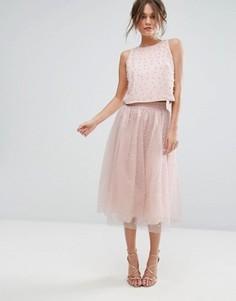 Тюлевая юбка миди с отделкой искусственным жемчугом Little Mistress - Розовый