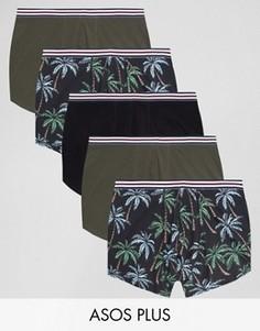 5 боксеров-брифов с цветочным принтом ASOS PLUS - Мульти