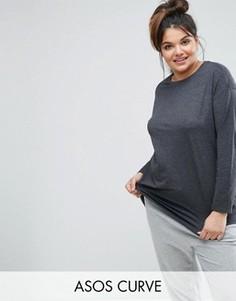 Oversize-футболка с длинными рукавами ASOS CURVE Ultimate - Серый