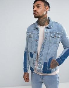 Джинсовая куртка с отделкой в стиле пэтчворк Liquor & Poker - Синий