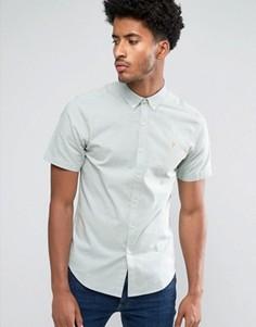 Зеленая узкая оксфордская рубашка с коротким рукавом Farah Steen - Зеленый