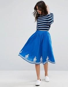 Юбка с цветочной вышивкой YMC - Синий