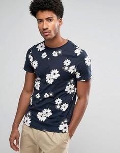 Темно-синяя узкая футболка с цветочным принтом Farah Ragworth - Темно-синий