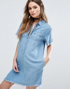 Асимметричное джинсовое платье с необработанным краем Blank NYC - Синий