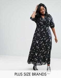 Чайное платье макси с цветочныи принтом Alice & You - Черный