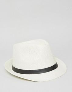 Соломенная шляпа с ремешком 7X - Белый