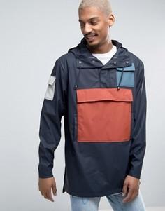 Темно-синяя непромокаемая куртка через голову с цветными вставками Rains Camp - Темно-синий