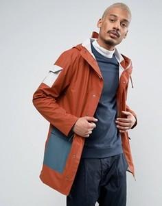 Красная длинная водонепроницаемая куртка колор блок Rains Camp - Красный