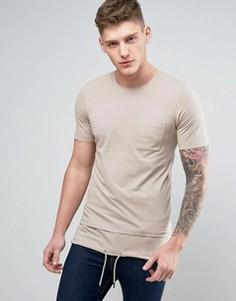 Удлиненная футболка Jack & Jones Core - Бежевый