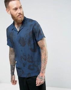 Рубашка с короткими рукавами и цветочным принтом Selected Homme - Темно-синий