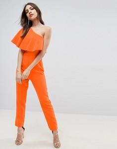 Комбинезон на одно плечо с оборками ASOS - Оранжевый