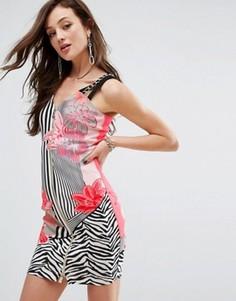 Платье в полоску с цветочным принтом на молнии спереди Versace Jeans - Розовый