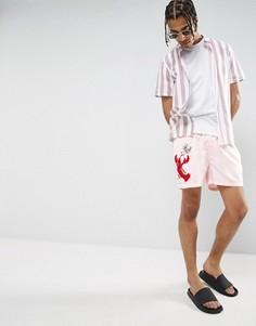 Короткие шорты для плавания с вышивкой омара ASOS x Lot Stock & Barrel - Розовый