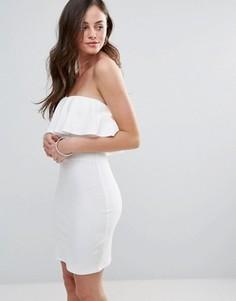 Платье-бандо с оборкой Oh My Love - Белый