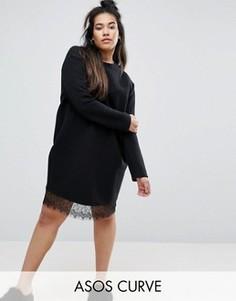 Трикотажное платье в рубчик с кружевной отделкой ASOS CURVE - Черный