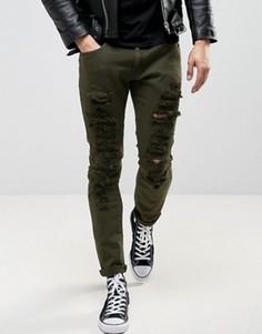Зеленые выбеленные джинсы слим с рваной отделкой Liquor & Poker - Зеленый