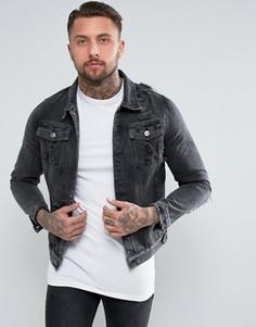 Выбеленная черная джинсовая куртка с рваной отделкой Liquor & Poker - Черный