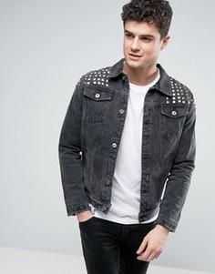 Выбеленная черная джинсовая куртка с заклепками Liquor & Poker - Черный