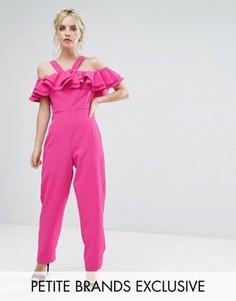 Приталенный комбинезон с оборкой True Decadence Petite - Розовый