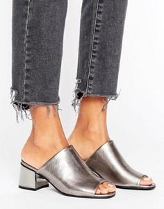 Сабо цвета металлик на блочном каблуке New Look - Серебряный