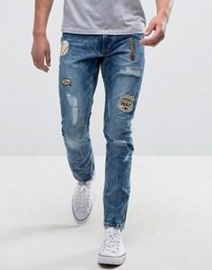 Узкие джинсы с нашивками Only & Sons - Синий