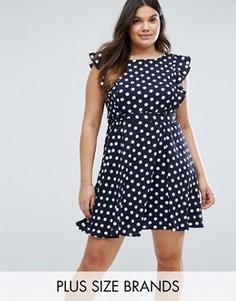 Чайное платье в горошек с оборками Yumi Plus - Темно-синий