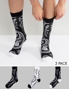Набор из 3 пар монохромных носков с принтом пейсли ASOS - Мульти