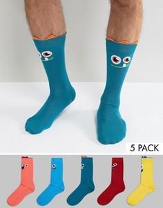 5 пар носков со смешными лицами ASOS - Мульти