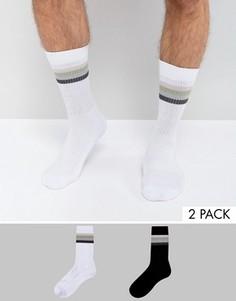 Набор из 2 пар спортивных носков с четырьмя полосками ASOS - Мульти