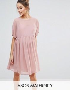 Свободное платье из дышащей ткани ASOS Maternity - Розовый