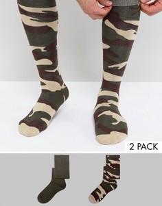 Набор из 2 пар носков под резиновые сапоги с камуфляжным узором ASOS - Зеленый
