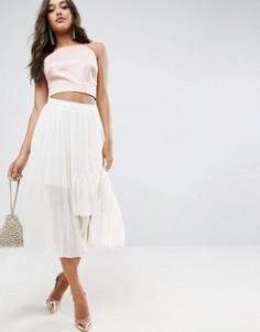 Плиссированная юбка миди ASOS - Кремовый