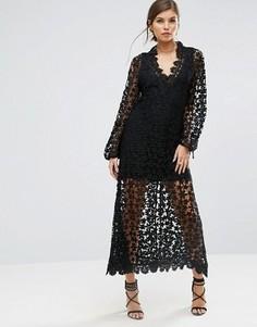 Платье макси из кроше с длинными рукавами и отделкой Stevie May - Черный