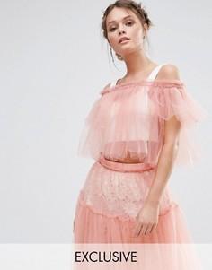 Кроп-топ из тюля с открытыми плечами True Decadence - Розовый