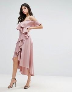 Платье миди с оборками True Decadence - Фиолетовый