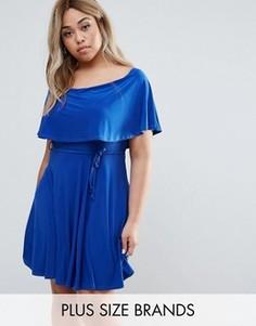 Платье с рюшами и завязками Club L Plus - Синий