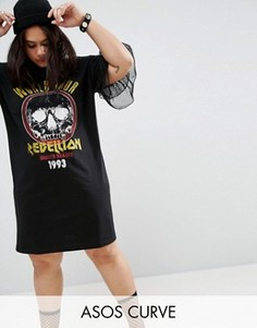 Платье-футболка с перекрестными бретелями, кружевными рукавами и принтом ASOS CURVE - Мульти